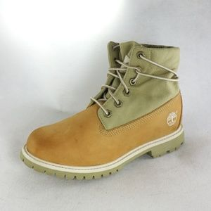 TIMBERLAND Womens Olive/Wheat Roll Top Boots